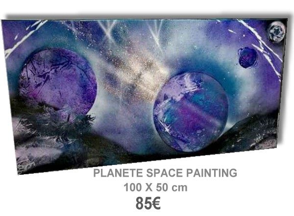 TABLEAU MODERNE PLANETE SPACE PAINTING