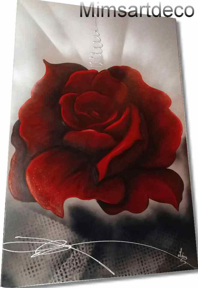 grand tableau rose rouge  xxl